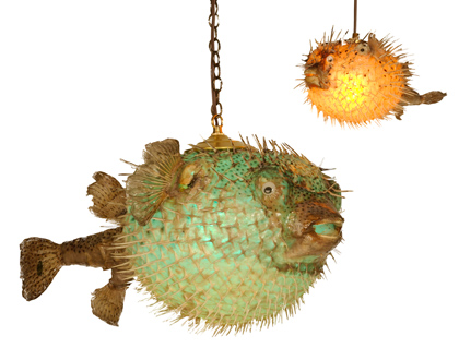 Oceanic arts catalog tropical lighting for Puffer fish lamp